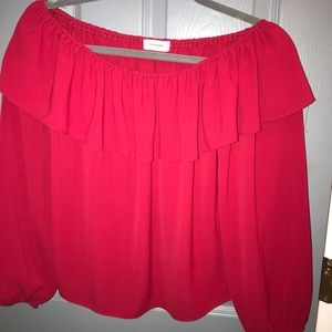 Off the shoulder Adrienne red top